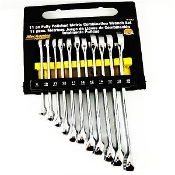 11 Piece Metric Polished Combo Wrench Set with Rack